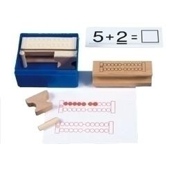 Rechenrahmenstempel mit Perlenstempeln für den Zahlenraum bis 20