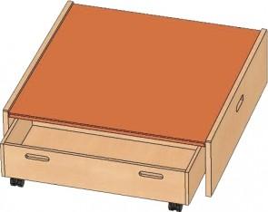 Podest Quadrat klein mit Öffnung für Rollkästen