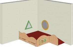 Spielpodest für die Raumecke mit 2 Rollkästen