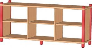 Raumteilerschrank mit 3 festen Böden, ohne Rückwand
