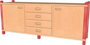 Raumteilerschrank mit 2 Türen & 4 Schubladen
