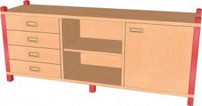 Raumteilerschrank mit Tür, 4 Schubladen & offenem Regal