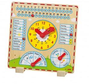 Kalendertafel mit Uhren