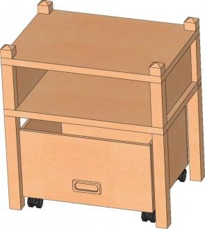 Stollenregal mit Sockelnische & Rollkasten, 60 cm hoch