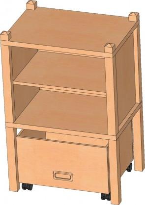 Stollenregal mit Sockelnische & Rollkasten, 80 cm hoch