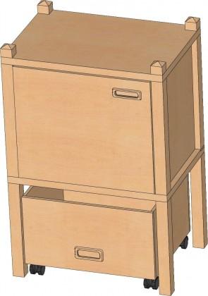 Stollenregal mit Sockelnische, Tür & Rollkasten, 80 cm hoch