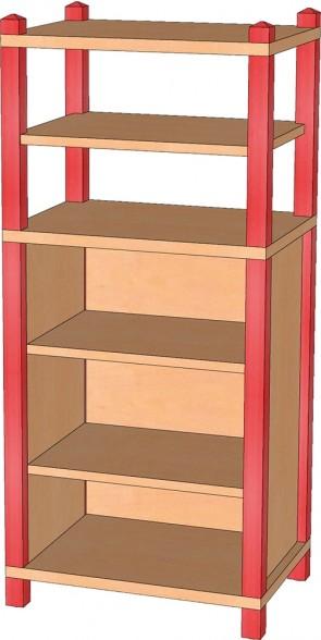 Stollenregal, 120 cm hoch, 3 Einlegeböden
