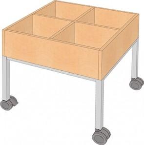 Fahrbarer Büchertrog mit Stahlgestell