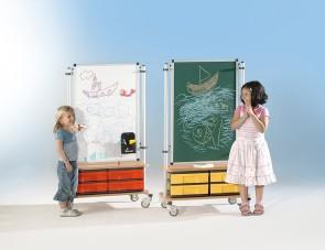 Raumteiler Whiteboard 60x90 mit Boxenschrank