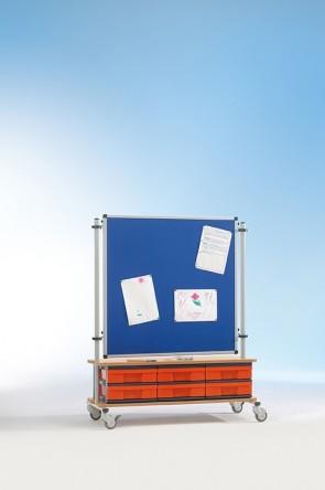 Raumteiler Stofftafel 90x90 mit Boxenschrank
