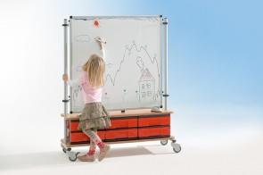 Raumteiler Whiteboard 90x90 mit Boxenschrank