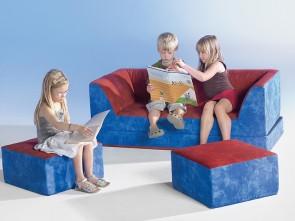 Kinder Klappcouch mit 2 Sesseln - Bezug Kunstleder