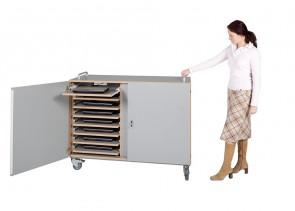 Laptopschrank PLUS mit 16 Einlegeböden/Teleskopauszügen