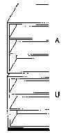Ausgleichs-Unterbauregal mit 2 verstellbaren Böden