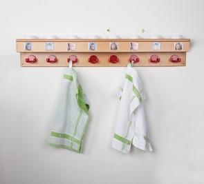 Waschraumleiste mit Haken und Becherhalter