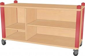 Raumteilerregal, fahrbar, 102,5 cm breit und 60 cm hoch