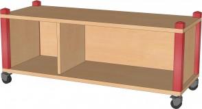 Raumteilerregal, fahrbar, 102,5 cm breit und 40,5 cm hoch