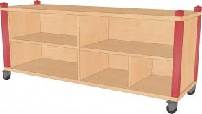 Raumteilerregal, fahrbar, 134,5 cm breit und 60 cm hoch