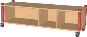 Raumteilerregal, fahrbar, 134,5 cm breit und 40,5 cm hoch