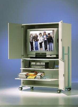Mobiler TV-Schrank mit 4 Türen, 3 verstellbare Böden