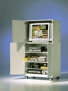 Mobiler TV-Schrank mit 4 Türen, kein sichtbares Gestell, 3 Böden