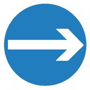 Verkehrsschild: vorgeschriebene Fahrtrichtung hier rechts