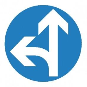 Verkehrsschild: Vorgeschriebene Fahrtrichtung geradeaus und links